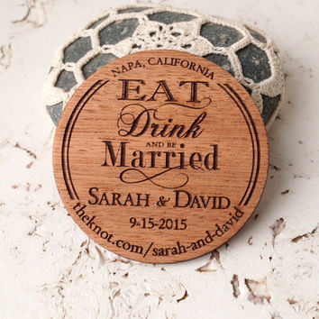 Save the Date magnet, rustic wooden save the dates magnets, luxury mahogany magnet, personalized round wood save the dates