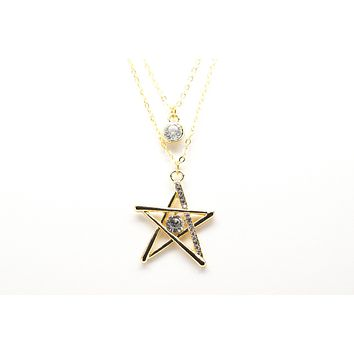 Star Gold Plated Double Necklace with Cubic Zirconia