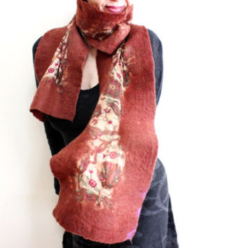 Pure silk and thin felt scarf, Brown Felt Romantic Scarf Shawl Pure Silk Nunofelt Cowl, Gift for her, Handmade Accessories Scarves