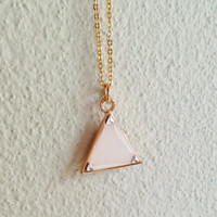 Triangle Necklace, Triangle Pendant Necklace, Ivory Geometric Pendant Necklace, White Triangle Necklace, Resin Jewelry, For Her