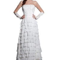 Lttdress Women's Strapless Tiered Beaded Chiffon Wedding Dress with Gloves