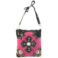 Camo Trim Studded Cross Hipster Cross Body Messenger Bag Purse (pink)