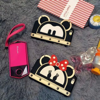 New 2016 Cute Mickey Minnie Mouse Rivet Women Girl Cell Phone Cases For Apple iPhone 6 6s 6plus 6splus Cover Case