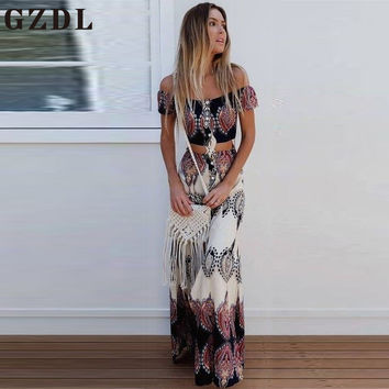 GZDL Summer Slash Neck Short Sleeve Geometric Crop Top High Waist Long Skirt Women Boho Beach Party Chiffon Casual Set CL3677