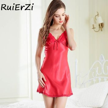 Women Dress Satin Sleepwear Silk Lace Spaghetti Strap Nightgown Nightdress Lingerie Female Cross Backless Sleeveless Nightie