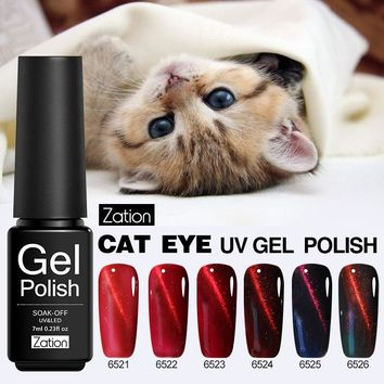 Zation New Red Flame Cat's Eye Gel Nail Polish Magnet Light LED & UV Gel Lacquer Soak-off Gold and Silver Charms Nail Gel Polish
