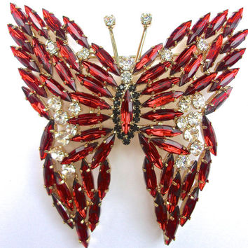 Red Clear Lucite Navette Butterfly Brooch, Huge Gold Tone, Vintage