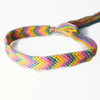 Chevron Friendship Bracelet Thin Pastel