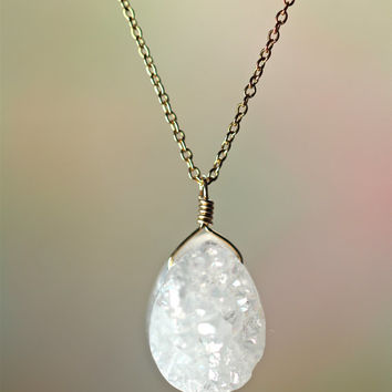 Druzy necklace -  a classy white teardrop druzy hanging from a 14k gold filled chain