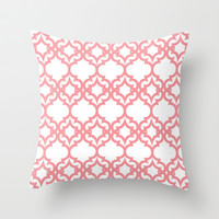 Lattice Stars in Coral Throw Pillow by House of Jennifer
