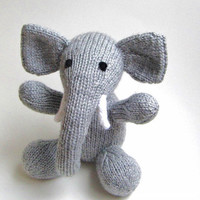Knit Toy Elephant - Plush Doll Kids Toy - Childrens Stuffed Animal Knit Toy - Gray Hand Knit Animal