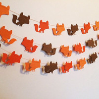 TriColor Orange, Light Orange and Brown Woodland Fox Paper Garland