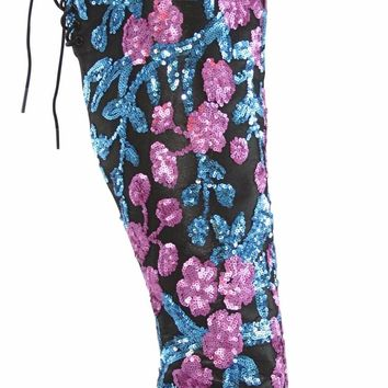 Nelly Celebrity Teal Pink Sequin Open Toe Thigh High Boot
