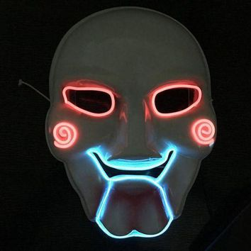 CREY6F Horrible LED Mask Saw Chainsaw Killer Mask Creepy Halloween Costume Clown Doll