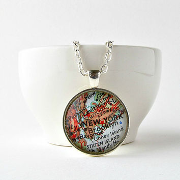 New York Necklace / New York City Map / NYC Necklace / New York Gift / Gifts Under 25 / Moving Away Gift for Her / Ready to Ship / Brooklyn