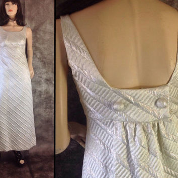 60s Mod Prom Dress. 60s Formal Gown. Silver Maxi Dress. Brocade Dress. Metallic Maxi Dress Silver Wedding Dress Metallic Prom Dress XXS XS