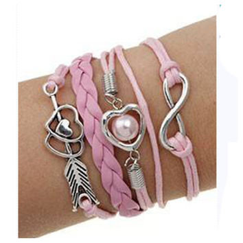 "Adorable ""Love"" Theme Pink White Leatherette Bracelet"