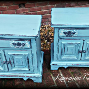 Distressed nightstand , shabby chic nightstand, Rustic nightstand, painted dresser,  nightstand, blue dresser, boho furniture, vintage