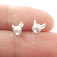 Baby Deer Doe Shaped Sleek Animal Head Stud Earrings in Silver | DOTOLY