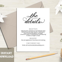Printable Wedding Details Card Template Wedding Enclosure Card Editable Modern Script Details Card Black Calligraphy Card Download DIY- DG70