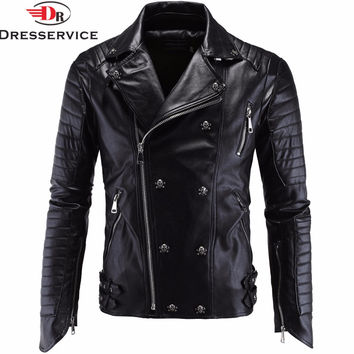 High-end Boutique Punk Men's Leather Jacket Carrie Leather Locomotive Leather Sundries Harem Leather Jacket