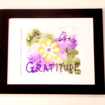 Love Art, Peace Art Gratitude Sign, Floral Art, Mixed Media Original Painting Inspirational Art, Floral Motivational Art Home Decor Wall Art