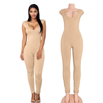 Cap Sleeves Nude Bodycon Jumpsuits