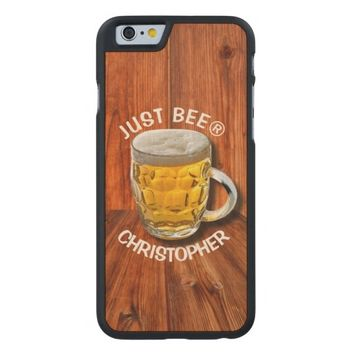 Glass Pint Beer Mug With White Head With Your Text Carved® Maple iPhone 6 Case