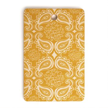 Heather Dutton Plush Paisley Goldenrod Cutting Board Rectangle