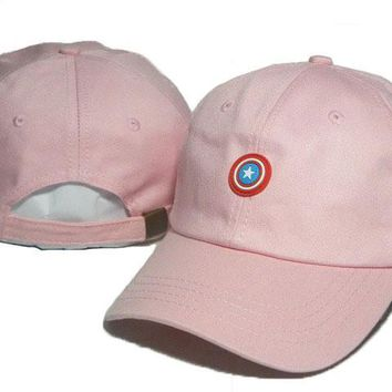 Pink Captain America Embroidered Baseball Cap Hat