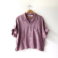 Vintage Cropped Shirt. Oversized Button Up Blouse. Modern Pocket Shirt. Lilac Purple Top.