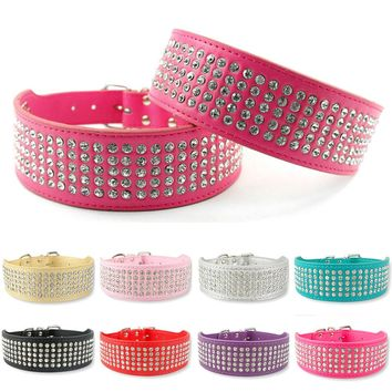 "2"" Width 5 Rows Rhinestone Dog Puppy Pet Collars  Bling Full Diamante Leather Collar 13-24""  XS/S/M/L/XL"