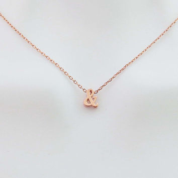 Ampersand, Rose gold, Necklace, Lovers, Friends, Mom, Sister, Gift