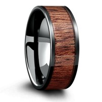 8mm Black Ceramic Wood Wedding Ring