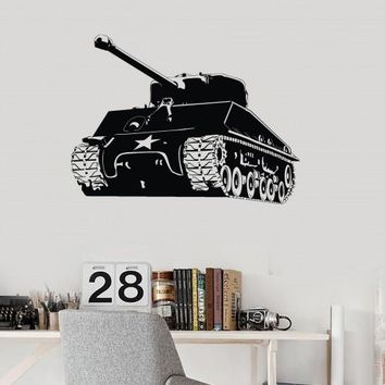 Wall Decal Tank Boys Room Military Decor War Game Vinyl Sticker Unique Gift (ig2894)