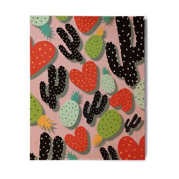 "SusanaPaz ""Cactus And Pineapples"" Pink Black Digital Birchwood Wall Art"