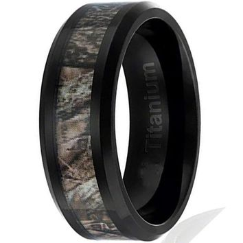 8MM Titanium Hunting Ring | Black Plated Wedding Band with Camouflage Inlay