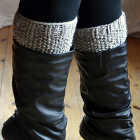 Knitted boot cuffs, light gray color, boot warmers, women clothing, boot toppers, teen clothing, gift ideas for girls, winter accessory