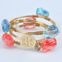 Monogrammed USA Wire and Stone Bangle Set | Bracelets | Marley Lilly