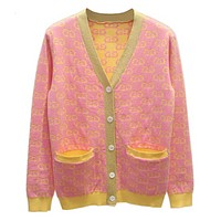 GUCCI Women Loose Jacquard Double G Print Button Pocket Knit Cardigan Fashion Jacket Coat Pink G