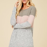 Grey/Blush Color Block Hacci Tunic