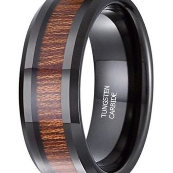 CERTIFIED 8MM Black Tungsten Carbide Ring KOA Wood Vintage Wedding Promise Band