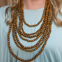 Layered Beaded Necklace - Wood