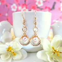 Gold shell rose pearl dangle earrings, gold filled clam shell pearl earrings, summer gold shell earrings