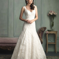 Allure Bridals 9125 Fit and Flare Lace Wedding Dress