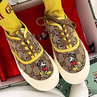 GUCCI New Hot Sale Women's Letter Cartoon Embroidered Canvas Sneakers