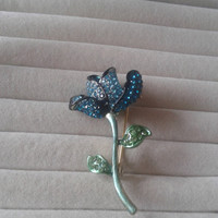 Closing sale - Blue flower crystal green brooch pin
