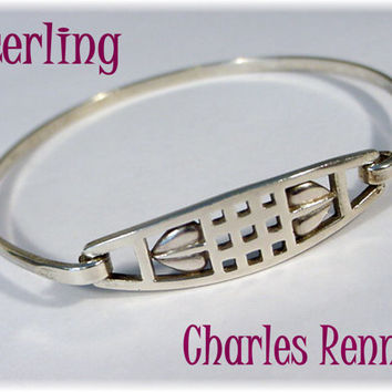 Charles Rennie Mackintosh ~ Scottish Art Nouveau Sterling Silver Carrick Heart Hook On Bracelet - Carrick Jewellery - FREE SHIPPING
