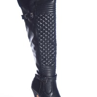 Natures Breeze Precious Poison Amber-01 Thigh High Quilted Stiletto Platform Boots - Black