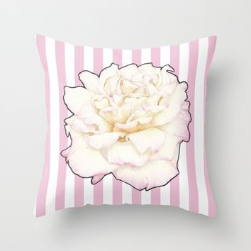 Pale Rose on Stripes Throw Pillow by drawingsbylam
